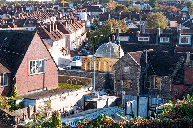 View of Easton Mosque Bristol through neighbouring properties