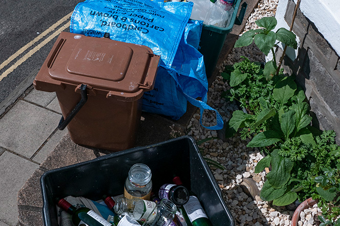 Recycling Collection Boxes outside Bristol home