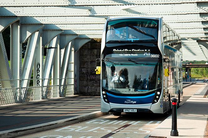 Bristol Metrobus travelling over bridge