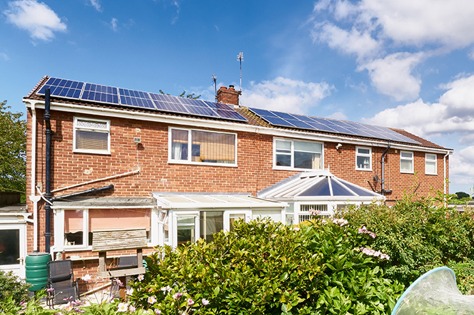 House with solar panels on its roof