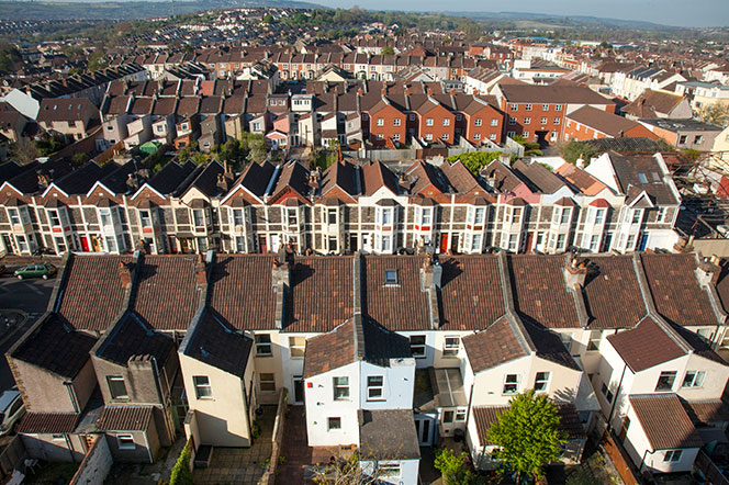 Aerial shot of roof tops over South Bristol